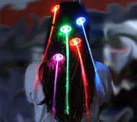 multi color hair extension - Mix color Chirstmas Party LED Toys Colofrul Luminous Light Up LED Hair Extension Flash Braid Party girl Hair Glow Night Lights Decoration