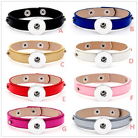 Wholesale Cheap Chunk Bracelets Buttons - New design Cheap wholesale Mixed 8 colours noosa chunks snap button Leather bracelets for women Nice Gift Jewelry SZ0337