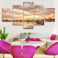 beautiful rivers - 5 Pieces Realist city and river HD high quality beautiful landscape paintings for bedroom decorative Art Picture
