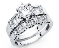 baguette band - 2 CT Round baguette Cut Engagement Ring band set Solid kt White Gold Bridal