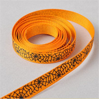 Wholesale Wide cm Length m Halloween Grosgrain ribbon printed Hallowmas Spider Cobwebs Ribbons For Decoration DHL