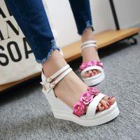 Cheap 2016 Plus small size 34-43 high wedge heel platform open toes belt buckle strap paillette flower lady sweet shoes women sandals 157-2