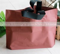 Plastic bean bags shopping - 55 cm red bean color market shopping carry bags Grocery coat carry bags plastic shopping carry bags with black handle