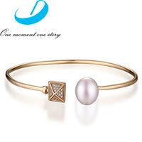 Wholesale European Jewelry Sterling Silver Rose Gold Plated Silver Bangles Pearl Bracelets with Crystals Jewelry B003782