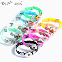 Wholesale Silver Silicone Bracelets - 20pcs lot 18mm Ginger snap button bracelet colorful silicone bracelets interchangeable charm snap button Jewelry bracelet for women SZ0006a