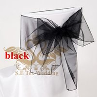 Wholesale Black Color Organza Chair Sash Chair Bow Used For Banquet Wedding Chair Cover
