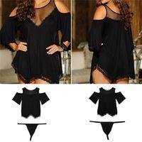 Wholesale New Arrivals Women s Lady s Sexy Set Mini Dress Dew shoulder Nightdress Lingerie Negligee G String Gauze Spandex Black EB22