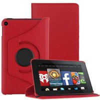 Wholesale For Amazon Kindle Fire Model Rotating Leather Case Cover Stand Red case cover fot tablet tablet folding stand