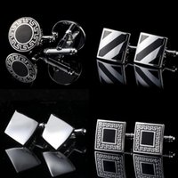 Wholesale 1 Pair Mens Cufflinks Round Square French Shirt Cuff Link Fashion Party Wedding Jewelry Gift With Box