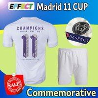 t cups - New Arrived Madrid kits UCL Final champion soccer jerseys set La Undecima printing cup Commemorative Edition white football T shirt