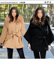 belted coat with fur collar - 2016 Autumn Winter Womens Thick Woolen Coat Khaki European Fashion Casual Fall Maxi Slim Long Sleeve Jacket Overcoat Coats With Fur Collar
