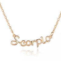 astrology necklaces - Constellation necklace Zodiac Sign Astrology Gold Plated Letter Scorpio Pendant Necklace Birth Sign accessories for women zj