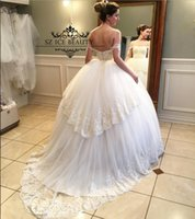 Wholesale Sexy Backless Ball Gown Wedding Dresses Plus Size Off Shoulder Ivory Lace Tulle Peplum Beaded Court Train Women Bridal Gowns