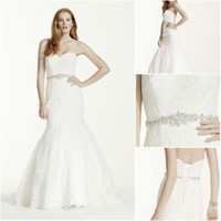 Wholesale 2016 Lace Mermaid Wedding Dress With Beaded Belt Strapless Sweetheart Neckline V3680 Bridal Gown Free Veil