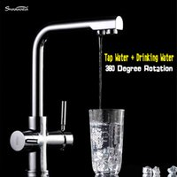 Wholesale New Brass Chrome Kitchen Faucet Sink Mixer Dual Water Degree Rotation Tap