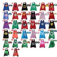 Wholesale 2016 CM Double Side Kids Superhero Capes with Masks Batman Spiderman Ninja Turtles Captain America for Kids Halloween by DHL