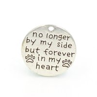 antique words - mm Antique Silver Plating English Word quot no longer by my side bu forever in my heart quot Round Alloy Charm DIY