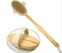 Wholesale Natural Long Wooden Bristle Body Brush Massager Bath Shower Back Spa Scrubber