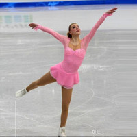 Wholesale Fashion Long Sleeve Ladies Skating Competition Dress Pink Custom Made Beaded Women Ice Skating Dress Hot Selling