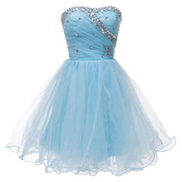 Wholesale Beaded Crystal Organza Ball Gown Homecoming Dress Short Lovely Sweetheart Party Gowns Lace Up Real Photo