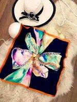 Wholesale 55 cm Fashion Square Silk Satin Scarf Small Silk Neckerchief Real Silk Scarves Square for Women