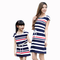 baby s dress clothes - Summer school girl striped dress family matching outfit casual sleeveless mom and baby girls mother and daughter dresses clothes
