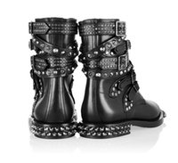australia western - australia Famous brand women boots Genuine Leather lace up boots Motorcycle Biker Boots Shoes Women Suede Spiked Snow Boots Shoes Brand Desi