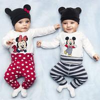 Wholesale Mickey Minnie Infants NewBorn Baby Rompers Bodysuits Boys Girls Long Sleeve Cartoon Romper Hat Pants Set Cotton Babys Clothing
