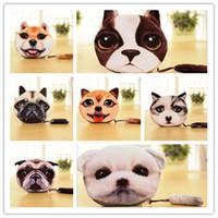 Wholesale 19 Design D Printer Cat face Cat dog with tail Coin Purse Bag Wallet Girls Clutch Purses Change Purse cartoon handbag D642