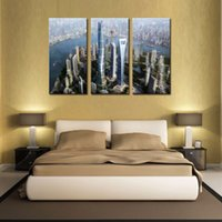bars shanghai - LK3228 Panels Combination Shanghai High Rise Building Scene City Buliding Wall Art Modern Pictures Print On Canvas Paintings For Home Bar