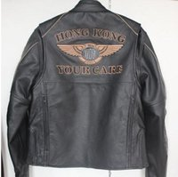 Wholesale Memorial racing coats Mens Leather first layer of cow leather jacket motorcycle jacket Harley essential coat