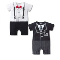 Wholesale 2016 Summer Baby Romper Gentleman Modelling Cotton Short Sleeve O Neck Colors New Boys Clothes