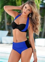 Wholesale 2016 New Sexy Bikinis Women Swimsuit High Waisted Bathing Suits Swim Halter Top Push Up Bikini Set Beach Plus Size Swimwear XXL