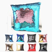 Wholesale 40x40cm Types Double Color Mermaid Glitter Sequins Throw Pillow Case Cafe Home Decor Cushion Covers