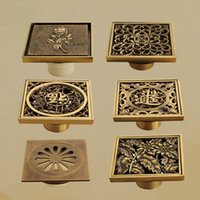 Wholesale Fashion hot cm Vintage Artistic Brass Bathroom Square Shower Floor Drain Trap Waste Grate With Hair Strainer FES G