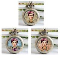Wholesale Frida Kahlo Pocket Watch Mini Glass Locket Necklace Style Retro Vine Pocket Watch Necklace