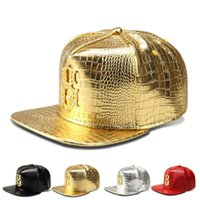 baseball diamond numbers - 2016 Vogue Faux Leather Lucky Number Logo Baseball caps Diamond Gold Crocodile Grain snapback DJ hip hop hats men women gift