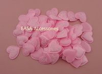 Wholesale 500PCS cm Sponge Lining Light Pink Satin Fabric Heart Appliques Patches with wave edge and printing of I Love You
