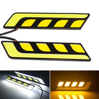 Wholesale 1Pair COB LED DRL W Daytime Running Lights White with Yellow Turn Signal Driving Lamp Bar IP65 Waterproof DC V