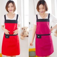 work apron - Women Apron Korean Waiter Aprons With Pockets Restaurant Kitchen Cooking Shop Art Work Apron free shopping