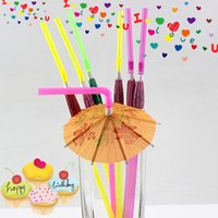 Wholesale 100pcs New Arrival Umbrella Shape Straw Mixed Kids Birthday Wedding Decorative Party Decoration Event Supplies Drinking Straws