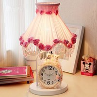 Wholesale 1 piece Romantic pink cloth art desk lamp with white clock The princess room bedside lamp Wedding decoration table lamp