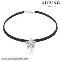 Wholesale Punk Jewelry Black String Flower Zirconia Rhodium Color Copper Charm Necklace Lobster Clasp Fashion Accessory from Xuping Brand