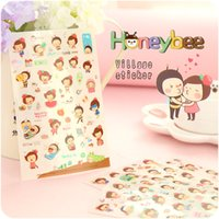 Wholesale South Korea creative cartoon cute girl with bee Columbia student diary decorative stickers transparent stickers Set L5066