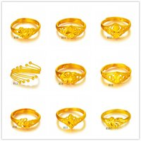 american carts - 9 pieces a mixed style new arrival fashion open size women s yellow gold ring Cart Flower Carving diamond k gold ring EMKR2