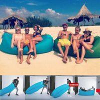 Wholesale Lamzac Hangout Fast Inflatable Lounger Air Sleep Camping Sofa KAISR Beach Nylon Fabric Sleeping Bag Bed Lazy Chair outdoor