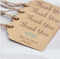 al por mayor latas de papel-Personalizado gracias las etiquetas de la boda con 6 colores corazón usted puede elegir etiquetas de papel del favor de la boda Etiquetas personalizadas del regalo