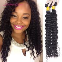 Peruvian Deep Wave hair weave 2bundles Perruque perruque perruque profonde cheveux humains Extensions Profondes bouclés coiffures longueur mixte 8-28 pouces Pas cher