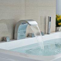 bathtub faucet handheld - Chrome Brass Widespread Bathtub Faucets with Handheld Faucet Deck Mount Tub Mixer Filler Taps