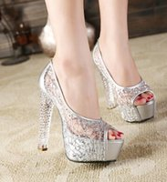 Wholesale sexy silver crystal heels wedding shoes designer shoes women high heels peep toe summer shoes size to